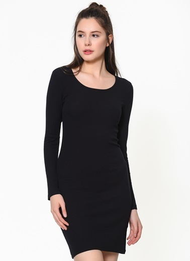 Braez Mini Dar Elbise Siyah